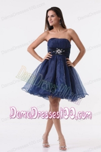 Inexpensive A-line Strapless Navy Blue Beading Ruching Organza Dama Dress