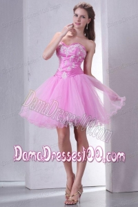 Sweetheart Rose Pink Mini-length Dama Dress with Appliques