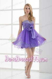 A-line Strapless Sleeveless Beading and Ruching Dama Dress