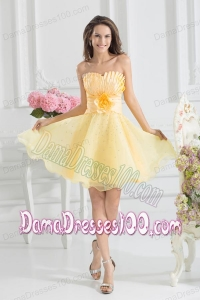 A-line Yellow Strapless Hand Made Flower Organza Dama Dress
