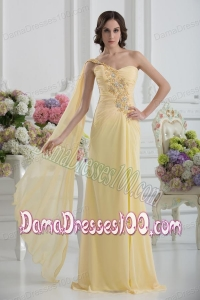 Bowknot Sweetheart Empire Watteau Train Dama Dress in Gold