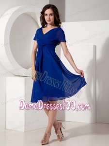 Cheap Royal Blue V-neck Short Sleeves Dama Dress