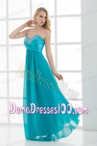 Empire Teal Blue Sweetheart Floor-length Beading Dama Dress