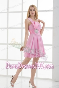 One Shoulder A-line Beading and Ruching Chiffon Dama Dress