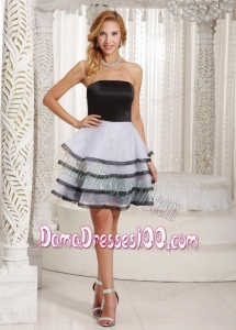 Ruffled Layers A-line Customize Dama Dress With Black and White For Summer