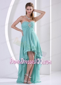 Custom Made Sweetheart High-low Turquoise Dama Dress