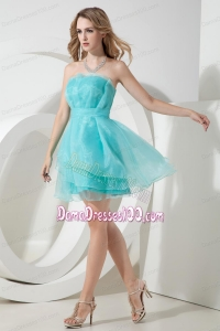 Light Blue Mini-length Short Strapless Organza Dama Dress