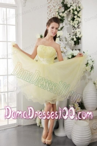 Light Yellow A-Line Strapless Mini-length Organza Beading Dama Dress