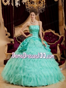 Apple Green Ball Gown Strapless Floor-length Ruffles Taffeta and Organza Quinceanera Dress