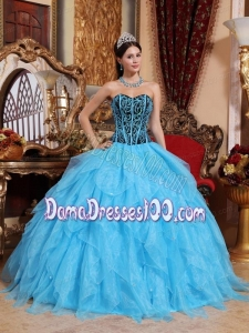 Aqua Blue Ball Gown Sweetheart Floor-length Organza Embroidery with Beading Quinceanera Dress