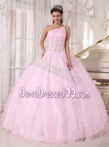 Baby Pink Ball Gown One Shoulder Floor-length Tulle Beading Quinceanera Dress