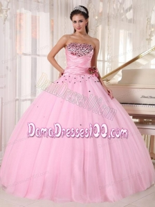 Baby Pink Ball Gown Strapless Floor-length Tulle Beading and Ruch Quinceanera Dress