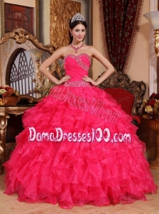 Coral Red Ball Gown Sweetheart Floor-length Organza Beading Quinceanera Dress