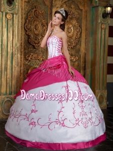 Fuchsia Ball Gown Strapless Floor-length Embroidery Satin Quinceanera Dress