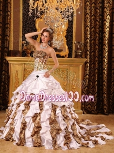 Gorgeous Ball Gown Strapless Brush Train Taffeta and Zara White Quinceanera Dress