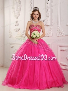 Hot Pink A-Line / Princess Sweetheart Floor-length Satin and Organza Beading Quinceanera Dress
