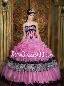 Rose Pink Ball Gown Strapless Floor-length Picks-Up Taffeta Quinceanera Dress