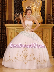 White Ball Gown Strapless Floor-length Satin and Organza Appliques Quinceanera Dress