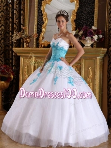 White and Blue Ball Gown Sweetheart Floor-length Appliques Organza Quinceanera Dress