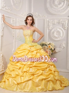 Yellow Ball Gown Strapless Court Train Taffeta Appliques and Beading Quinceanera Dress