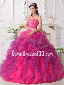 Hot Pink and Purple Ball Gown Sweetheart Floor-length Satin and Organza Embroidery Quinceanera Dress