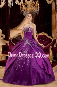 Purple Ball Gown Sweetheart Floor-length Taffeta and Tulle Appliques Quinceanera Dress