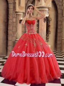 Red Ball Gown Floor-length Organza Beading Quinceanera Dress