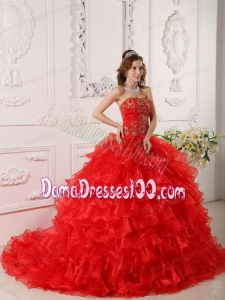 Red Ball Gown Strapless Floor-length Organza Ruffles And Embroidery Quinceanera Dress
