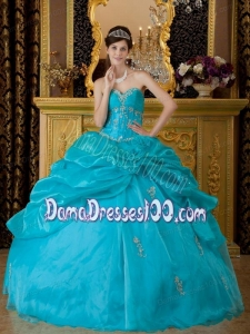 Teal Ball Gown Sweetheart Floor-length Organza Appliques Quinceanera Dress