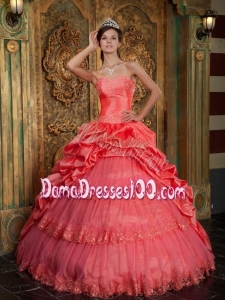Watermelon Ball Gown Sweetheart Floor-length Taffeta and Tulle Lace Appliques Quinceanera Dress