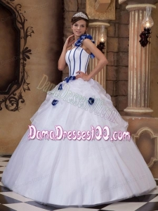 White Ball Gown One Shoulder Floor-length Satin and Tulle Hand Made Flowers Quinceanera Dress