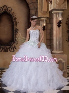 White Ball Gown Sweetheart Floor-length Organza Beading Quinceanera Dress