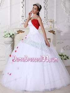 White and Red Ball Gown Sweetheart Floor-length Satin and Tulle Appliques Quinceanera Dress