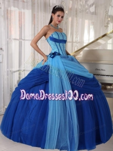 Blue Ball Gown Strapless Floor-length Tulle Beading Quinceanera Dress