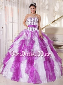 Colorful Ball Gown Strapless Floor-length Organza Beading Quinceanera Dress