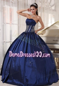 Navy Ball Gown Strapless Floor-length Taffeta Embroidery and Beading Quinceanera Dress