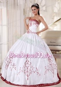 White And Wine Red Ball Gown Strapless Floor-length Satin Embroidery Quinceanera Dress