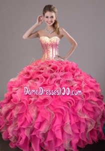 2014 New Style Sweet 16 Dress with Ruffles and Sequins
