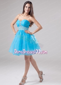 A-Line Beading Organza Sweetheart Mini-length Baby Blue Dama Dress