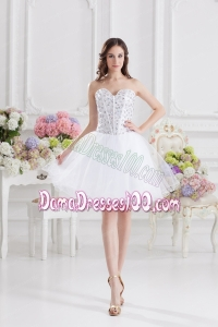 A-line Rhinestone Sweetheart Knee-length Dama Dress in White