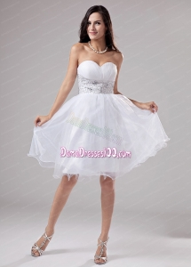 Beaded Decorate Waist Knee-length Organza A-Line Sweetheart Dama Dress