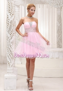 Beaded Up Bodice Lovely Baby Pink Dama Dress Strapless