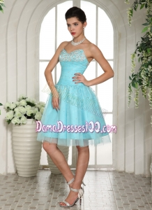 Customize Aqua Blue Sweetheart Beaded Dama Dress