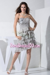 Grey Dama Dress With Sequins and Ruffled Layers Sweetheart Knee-length