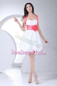 Hand Made Flowers Decorate Bodice Bowknot Mini-length White Dama Dress
