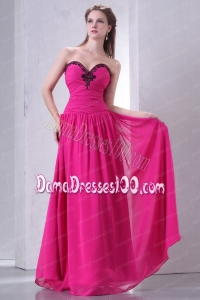Hot Pink Empire Sweetheart Dama Dress with Beading