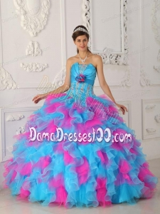 Multi-color Ball Gown Strapless Floor-length Organza Appliques and Hand Flower Quinceanera Dress