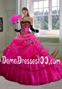 New Fashion Sweetheart Hot Pink Quinceanera Dress with Appliques