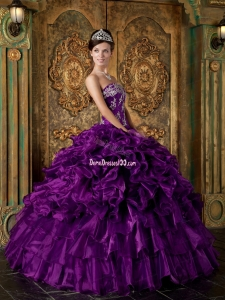 Purple Ball Gown Strapless Floor-length Organza Ruffles Quinceanera Dress