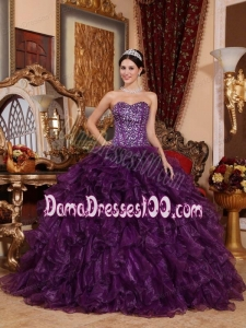 Purple Ball Gown Sweetheart Floor-length Organza Sequins Quinceanera Dress